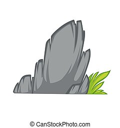Rock stone cartoon flat style With grass Vector Illustration...
