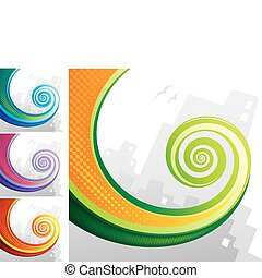 Tail Spiral - Colorful spiral chameleon tail with city...