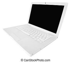 white laptop isolated on a white background