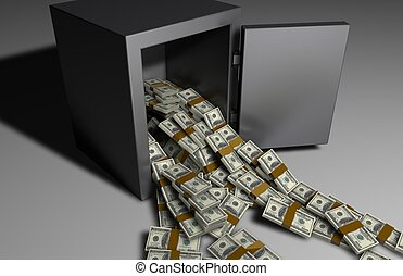 Money falling out of a Safe