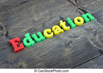 Education on wooden table