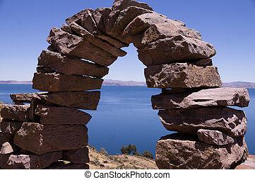Stone Arch at Taquile Island, Lake Titicaca, Peru