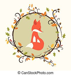 Vector Autumn Background with Fox - Vector Illustration of a...