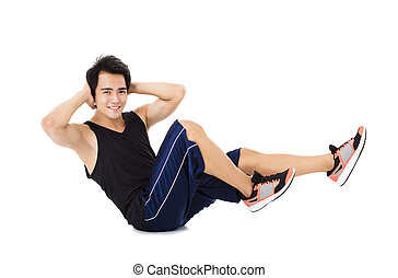 Young fitness man  making stretching exercises