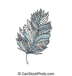 Feather in doodle style. Ornamental colorful fill. Isolated on white.
