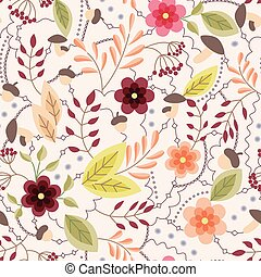 Autumn seamless pattern vintage - Vector autumn seamless...