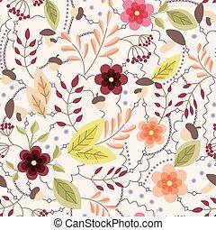 Autumn seamless pattern vintage - Vector autumn seamless...