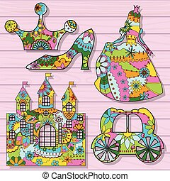 Princess decorations colorful on wooden background
