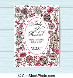 Autumn wedding invitation pink on wooden background - Vector...
