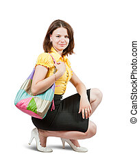 young girl with handbag - Attractive young girl with handbag...
