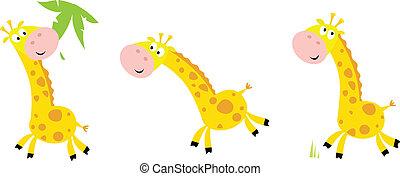 Yellow giraffe in 3 poses