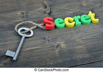 Secret on wooden table - Secret word on wooden table