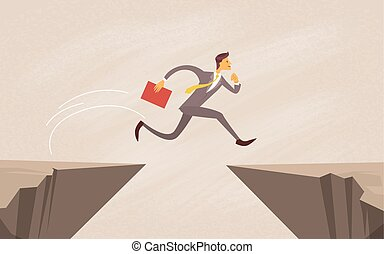Businessman Jump Over Cliff Gap Mountain Flat Vector...