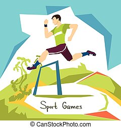 Hurdle Race Running Athlete Sport Competition Flat Vector...