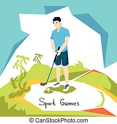 Golf Player Sport Competition Flat Vector Illustration