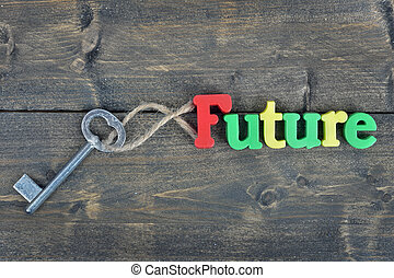 Future on wooden table - Future word on wooden table