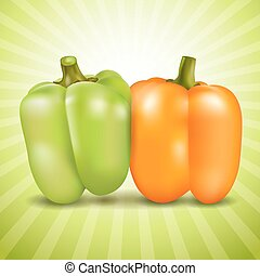 Orange and green sweet pepper. - Orange and green sweet...