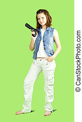 girl posing with handgun