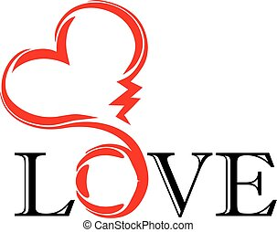 abstract heart. tatoo. vector - abstract red heart with...