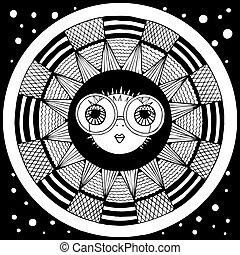puffer fish. vector. zentangl. graphic arts