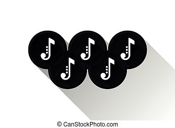 Black note icons in olimpic rings. Music symbols. Vector...
