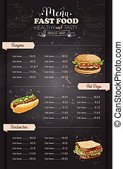 Drawing vertical color fast food menu design on blackboard