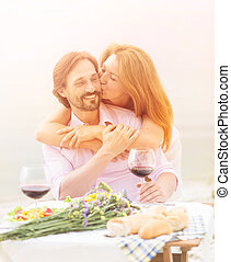 Mature couple outdoor - Closeup toned picture of happy...