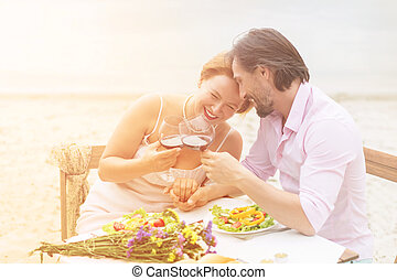Mature couple outdoor - Toned picture of happy couple...