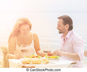 Mature couple outdoor - Toned picture of beautiful couple...