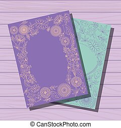 Two templates cards on wooden background - Vector two...