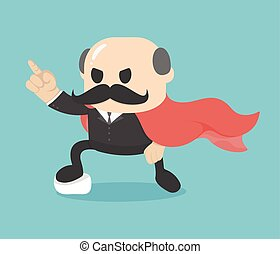 Cartoon super businessman showing confidence,Big Boss