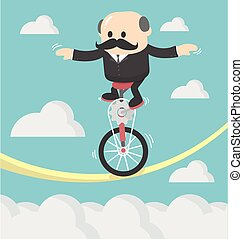 Businessman cycling balancing on a rope