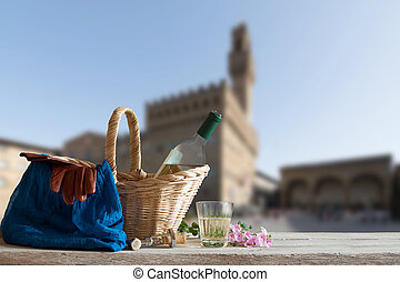 Picnic in Front of the Palazzo Vecchio in Florence