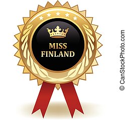 Miss Finland Award - Gold miss Finland winning award badge.