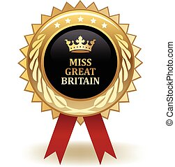 Miss Great Britain Award - Gold miss Great Britain winning...