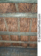 Palmetto and branch roof - A thatched roof made of palmetto...