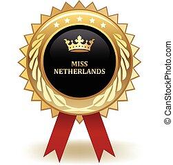 Miss Netherlands Award - Gold miss Netherlands winning award...