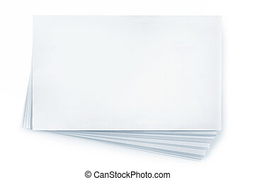Business Cards - Stack of blank white business cards,...