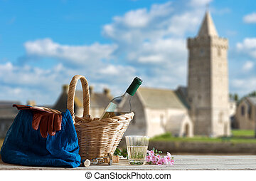 Picnic in Front of Church in the Normandy