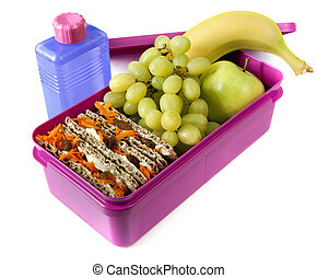 Nutritious Lunch Box - Healthy lunch in a bright pink lunch...
