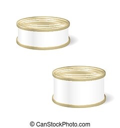 Realistic Blank Tins For Canned Food, Preserve, Conserve....