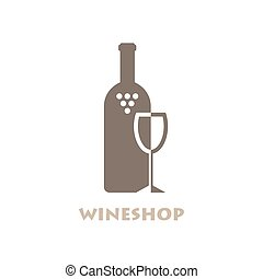 Wine Shop Or Bar Logo Negative Space Style Logotype Vector...