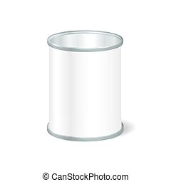 Realistic Blank Open Tin For Canned Food, Preserve,...