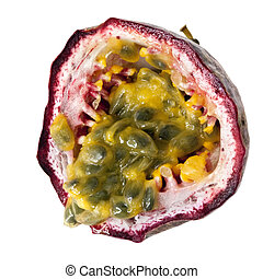 Passionfruit, cut and in close-up, over white background.