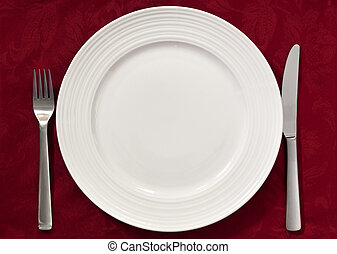 Place Setting on Red - Place setting on red damask...
