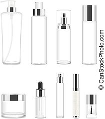 Set of nine transparent cosmetic tubes. Vector - Collection...