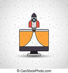 monitor computer desktop icon vector isolated graphic