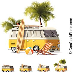 Vector realistic vintage hippie van icon set - Detailed...