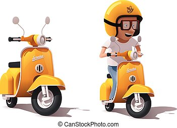 Vector realistic vintage yellow scooter and scooter driver...