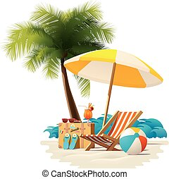 Vector travel and summer beach vacation relax icon -...